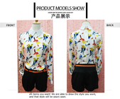 China Fashionable Style Bird Print Long Sleeves Peter pan Collar Chiffon Blouses For Ladies factory
