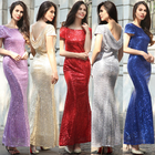 hot sale polyester short sleeve long women Bodycon evening beaded dress with gold sequin in red blue purple gray beige