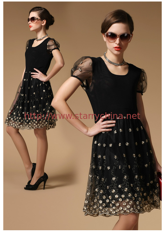 Ladylike style Scoop neck Embroidery lace short sleeves Slimming Burnt-out dress for women