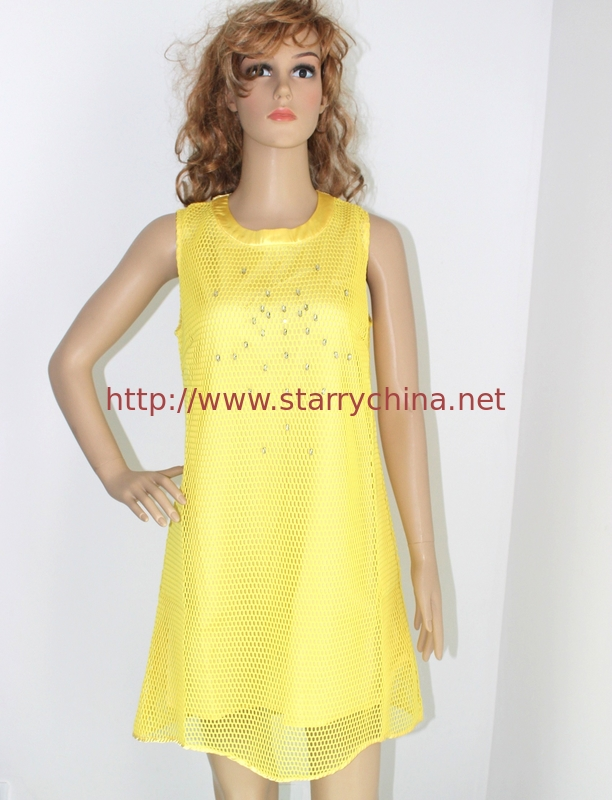 Round neck sleeveless ladies dresses with polyester