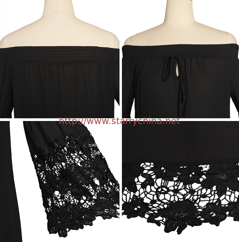 356ffc4f10c sexy flounce off shoulder lace trim chiffon ladies' black and white tops  wholesale women blouse with elastic band
