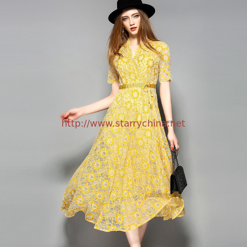 yellow hot sale women lace-up polyester lace dress