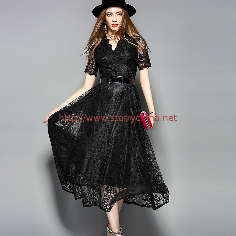 Black wholesale  Belted Lace Dress for Women Clothing with zipper
