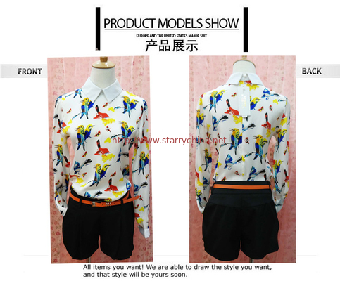 China Fashionable Style Bird Print Long Sleeves Peter pan Collar Chiffon Blouses For Ladies distributor