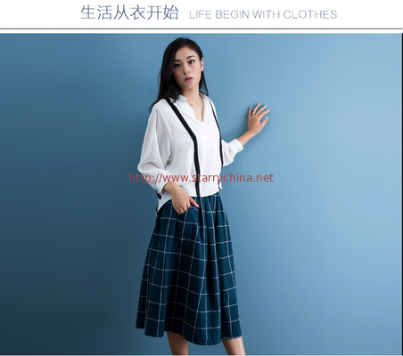 China cotton blue & white gingham dress fashionable n casual distributor