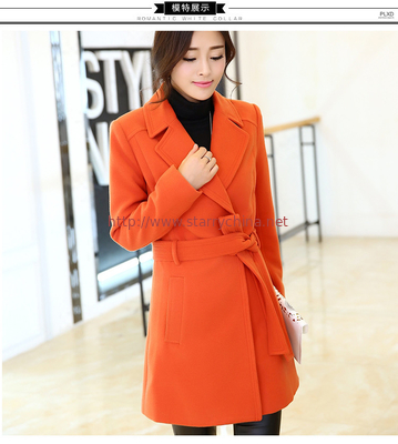 China 2016 fashion women turn-down collar polyester coat elegant coats distributor