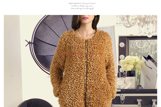 China Round neck zipper design long sleeves ladies fashion & elegant fur coat distributor