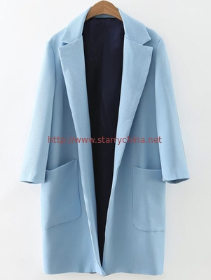fashion lapel collar long sleeve cotton+polyester  ladies coat