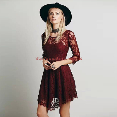 fashion round neck design long sleeve sexy lace women evening dress