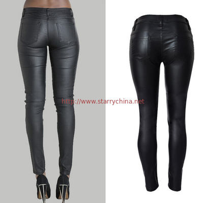 fashion&casual  high waist pu leather long pencil pant trousers for women