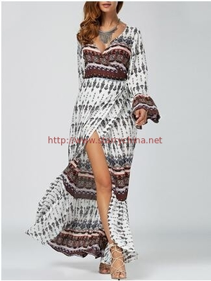 Ethnic Print High Slit Bell Sleeve Wrap Dress Bohemian beach long woman dress