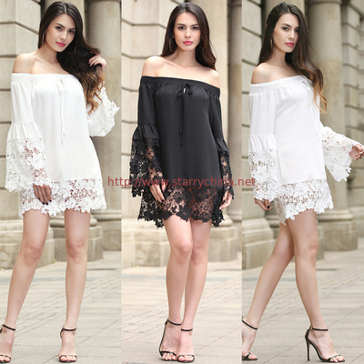 China sexy flounce off shoulder lace trim chiffon ladies' black and white  tops wholesale women blouse with elastic band distributor