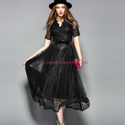 China Black wholesale  Belted Lace Dress for Women Clothing with zipper distributor