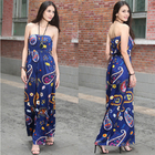 European-style fashion strapless printed long billowing skirt maxi sexy dress