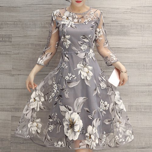 fashion & charming round neck 3/4 sleeve floral print see-trough women's dress
