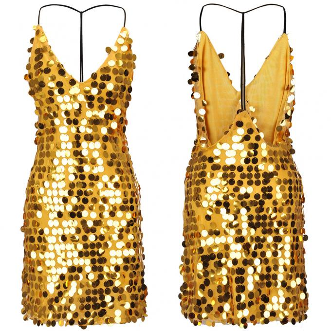 wholesale embroidered  golden sequin sexy slip dress polyester beaded dress without back