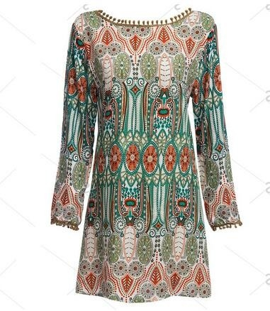 Ethnic Style Round Collar Tribal Print Tassel Women polyester Dress